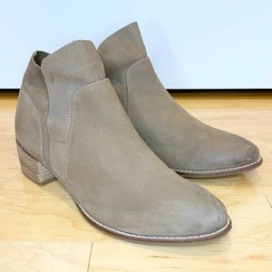 Seychelles Snare Taupe Suede Fold Ankle Booties